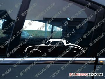 2x classic Car Silhouette sticker - Porsche 356 Pre-A speedster with hardtop